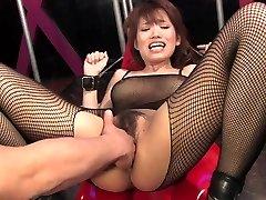 Busty brunette gets her unshaved slit fingered and joy button teased