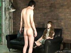 CFNM Japanese femdom Ruri like to witness a young naked man ma