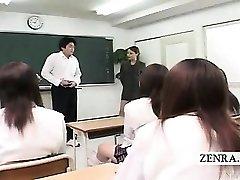 Subtitled CFNM Japanese classroom masturbation show