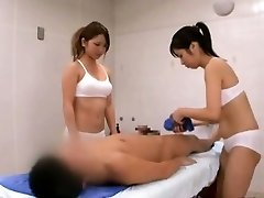 Subtitled CFNM Asian sauna girl duo penis cleaning