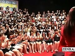 Subtitled CFNM Japanese large handjob oral event