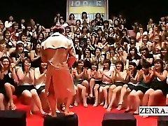 Subtitled CFNM Japanese ginormous handjob sucky-sucky event