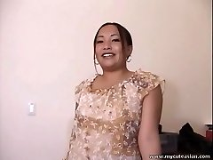 Chubby Asian first-timer housewife gives a hot blowjob