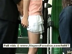 Rio asian teenage honey getting her hairy cootchie fondled on the bus