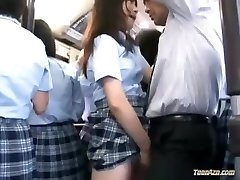 Thirsty Chinese school girl smashed on a crowded bus
