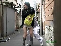 Surprised lengthy-haired oriental stunner loses her panties during sharking affair