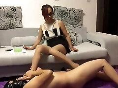 Chinese femdom ballbusting footjob cum shot