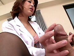 Beautiful Japanese nurse Erika Nishino having fun with two patients