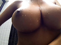 Big boobs Thai treat shows her shower cannons