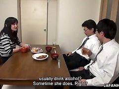 Too tired spouse falls asleep while his fucking partner drills his wife Risa Kurokawa
