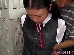 Innocent asian schoolgirl tasting cum close-up