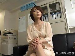 Titillating short-haired Asian model Yukina enjoys threesome