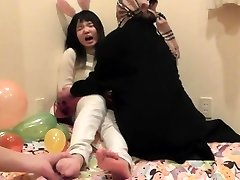 Japanese teenager girl's soles kittled part 1