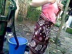 Indian teenie outdoor bath