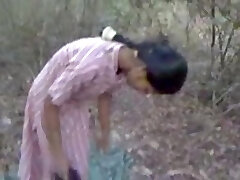 Hard Indian nipples and fur covered pussy recorded in park