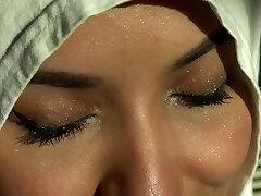 Beautiful Eyes White Hijab Arab Lady