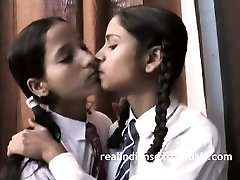 Indian School Girls Filmed By Teacher In Lesbian Hook-up