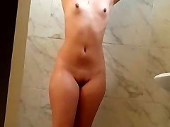 Mind-blowing wife bathing nude in shower hot wet pussy boobs