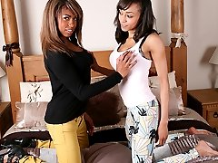 Sexy Alyssa has her first girl on girl experience with a dark skinned beauty.