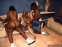 2 horny skanks get their asses plowed in an ebony 4some