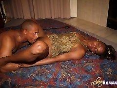 Inviting ebony beauty gives blowjob and gets small breasts creamed