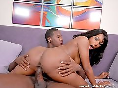 Black superslut eats her partner's huge cock