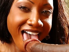 Black pornstar Diamond Jackson exposes her big udders and gives a cock a wild ride