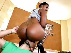 Fucking horny black babe pounded against the jacuzzi hot screaming sex