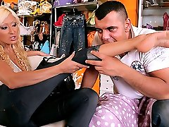 Watch this amazing hot long leg euro babe get fucked hard and cumfaced by the shoestore manager...