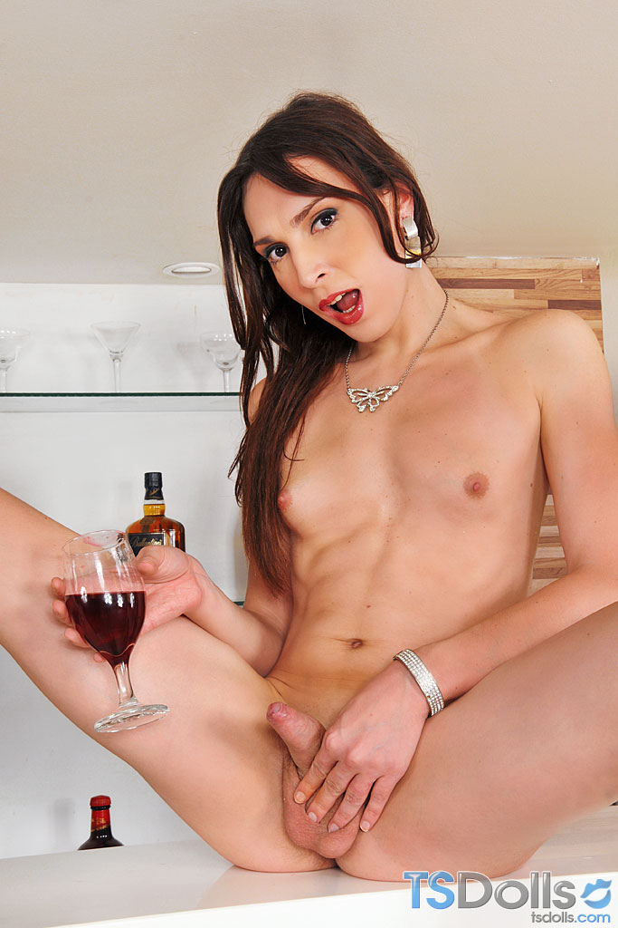 Drunk Shemale Porn - Slightly drunk big cock tranny stroking her meat