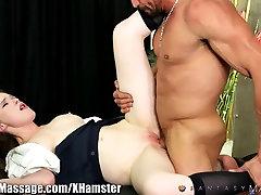 FantasyMassage beast cuckold Schoolgirl Tastes Cum