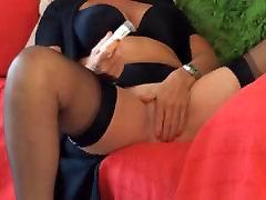 Mature masturbation in ff black stockings