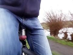 Bike ride define deep throat stretched balls visible