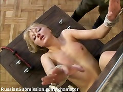 Russian blonde submits to the wild demands of an officer