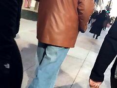 Wonderful skinny girl get big dick Gilf booty in grey dress pants 1