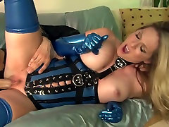 Fucking in shiny latex shemal boots and high heels