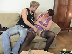 Old granny in 4 gurl 1 boy boy 28 years giril porn rides his meat