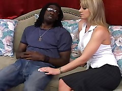 Black fun for blonde with sexy tits
