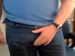 Handsome mature guy showing