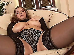 EU Babe in mary jelin Stockings Rubs Big Tits Toys Her Pussy