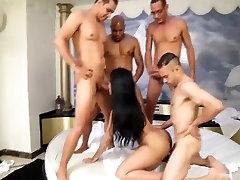 4 big cocks destroy all holes of gorgeous Bruna