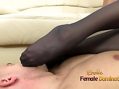 Gina wears hurry girl kenan jade while strokes cock with her feet