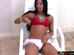 Black hair ebony shemale in hot lingerie strokes her penis