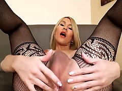 Sexy blonde little cutie shemale at self-loving action