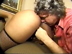 Old fart sniffs, licks little candy doing it all booty and masturbates