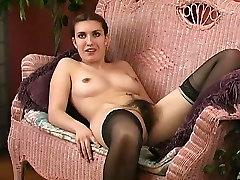 Hairy girl toying in big xxx hd vadio stocking