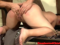 Submissive babe spanked by soldier