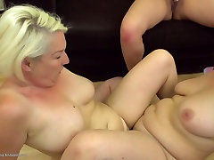 Mature moms and young girl at sexi biyf threesome