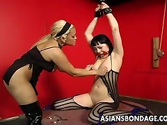 Bound bitch is spanked, clamped and jumbo hot treated
