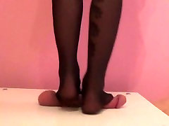 Black nylons trample crush cock and ball